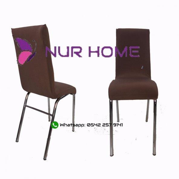 Lastikli Sandalye Kılıfı Kahve Rengi Mutfak Tipi M2 (Renk-16)