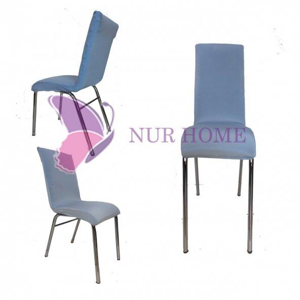 Lastikli Sandalye Kılıfı Açık Mavi Mutfak Tipi M2 (Renk-21)