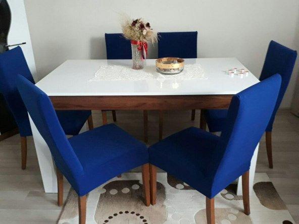 Nur Home Saks Mavi Sandalye Kılıfı (Renk-4)