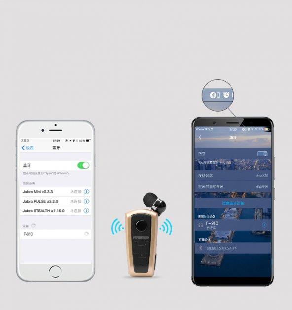 Fineblue F910 Bluetooth Kulaklık Makaralı Füme