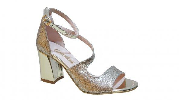 Papuc.Chi Ayakkabı 416.1810 Kadın Simli Çapraz Kalın Topuk Ayakka