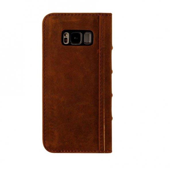 Wachikopa Samsung Galaxy S8 Hakiki Deri Kılıf Book Case Boni Kahv