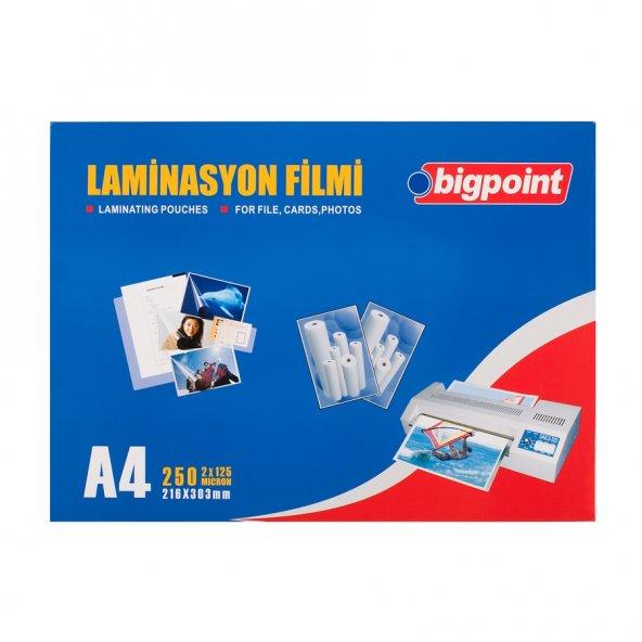 Bigpoint Laminasyon Filmi A4 125 Mikron 100lü Kutu