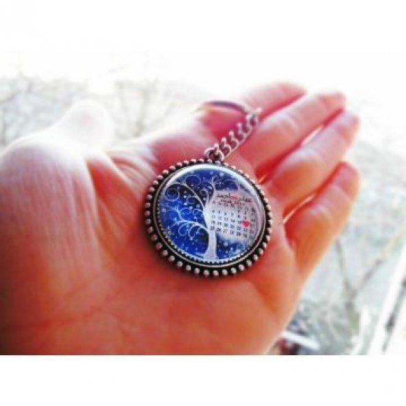 Kişiye Özel Resimli Anahtarlık İsimli Tarihli Takvimli Anahtarlık Cam Anahtarlık Sevgiliye Hediye