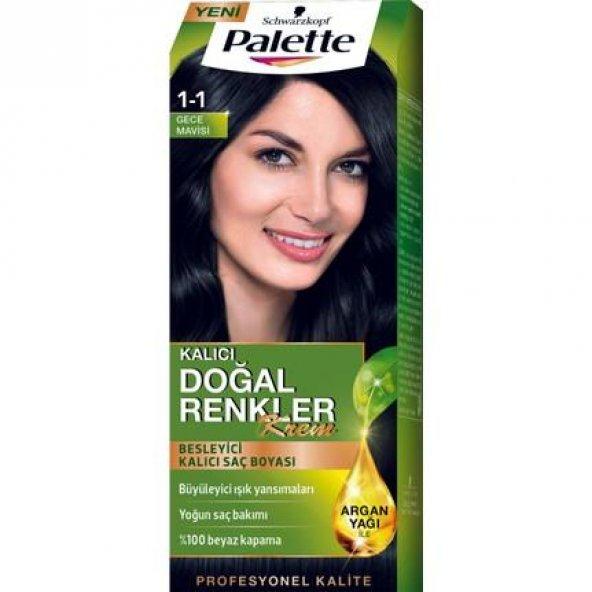 Palette Natural 1.1 Mavi Siyah Kalıcı Saç Boyası