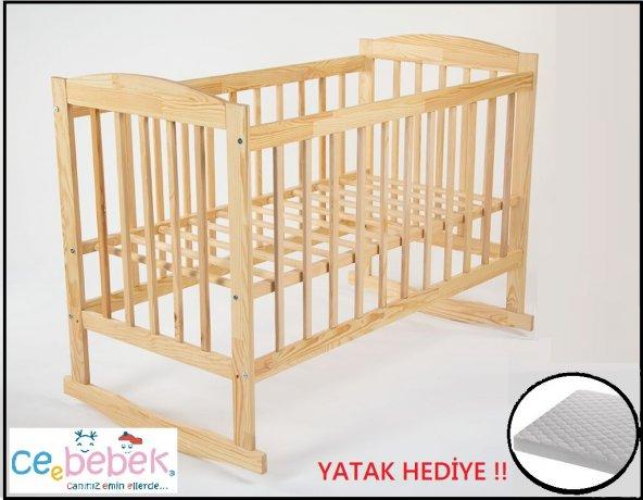 Ceebebek 60x120 Eva Ahşap Bebek Beşik Çocuk Karyola Park Yatak Kademe Sallanma Anne Yanı Ücretsiz Kargo Yatak Hediyeli !!
