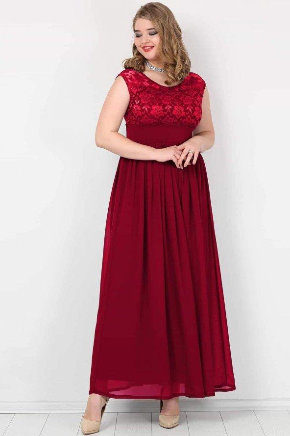Büyük Beden Şifon Kolsuz Uzun Abiye Elbise KL4009