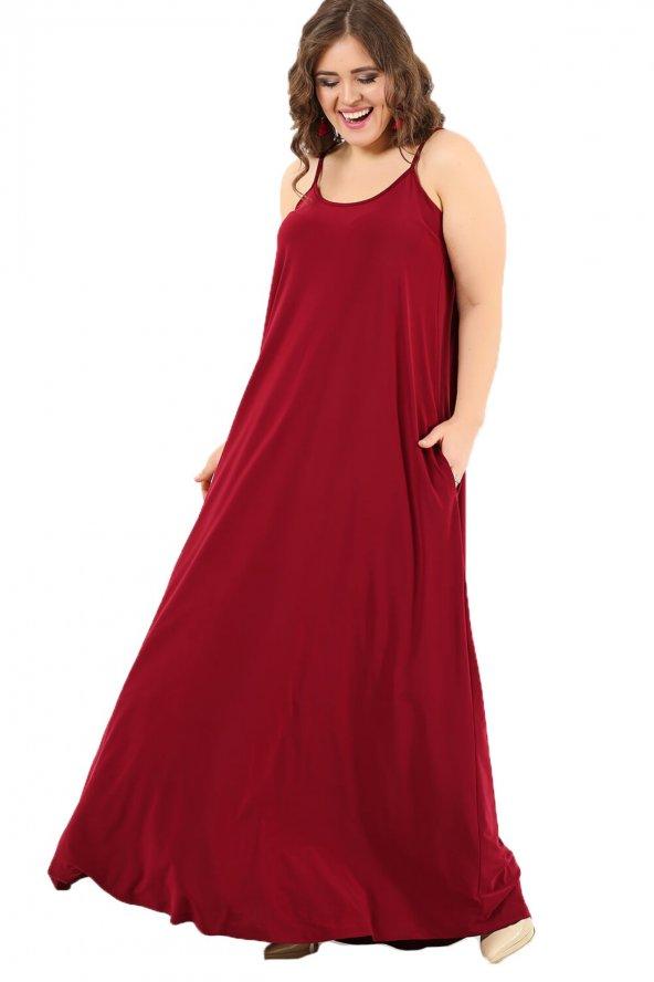Büyük Beden Spor Cepli Askılı Uzun Elbise DD799