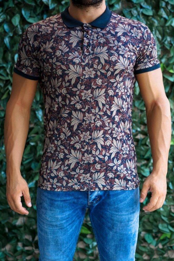 Yapraklı ve Çiçekli Polo Yaka T-shirt
