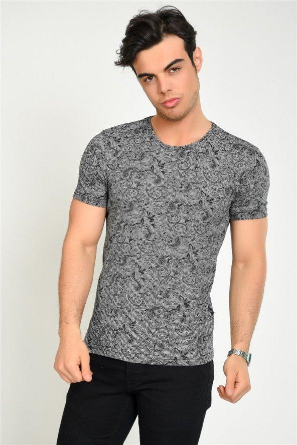 Kendinden Şal Desenli Siyah Erkek T-shirt