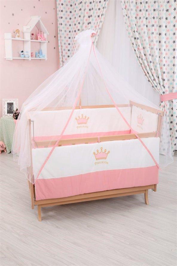 Bebekonfor Pembe Taçlı Uyku Seti ile Doğal Karyola Bebek Beşiği