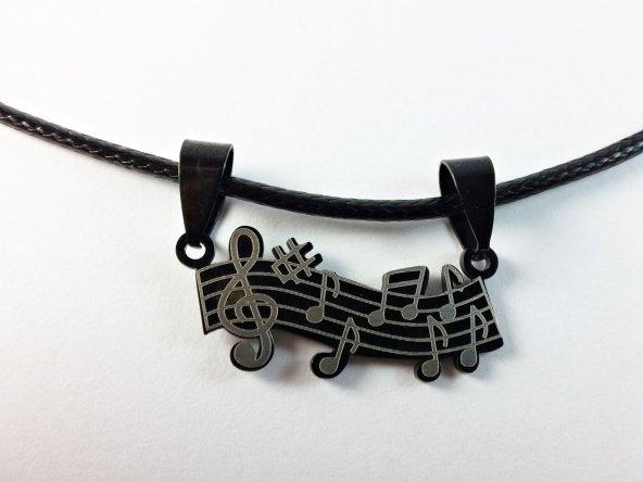 Müzik Notası Paslanmaz Çelik Kolye Sol Anahtarı Çelik Kolye