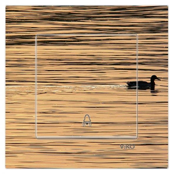 Dekoratif Baskılı Elektrik Düğmesi-Priz-Kapı Zili Ördek Göl