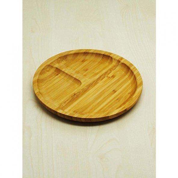 Bambu Sunum Tabağı Çerezlik Yuvarlak