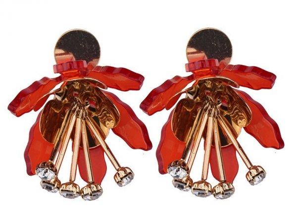 Frilly Çiçek Küpe Kırmızı (FKKP998)