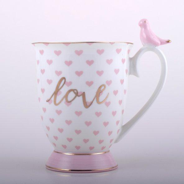 Altın Yaldız Kalp Desenli Kuşlu Porselen Kupa