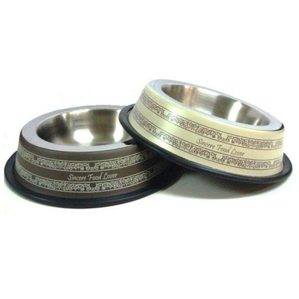ASWTPP(R) Köpek Çelik Mama Kabı Desenli 96 Oz Çap:18cm