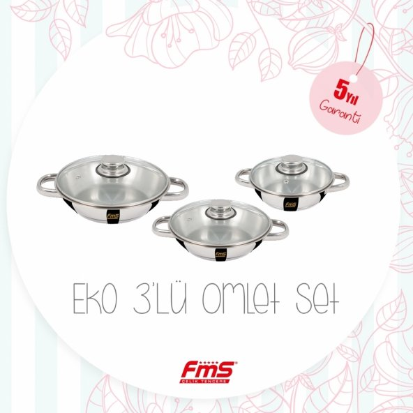 FMS 5016 Eko Çelik Üçlü Omlet Set