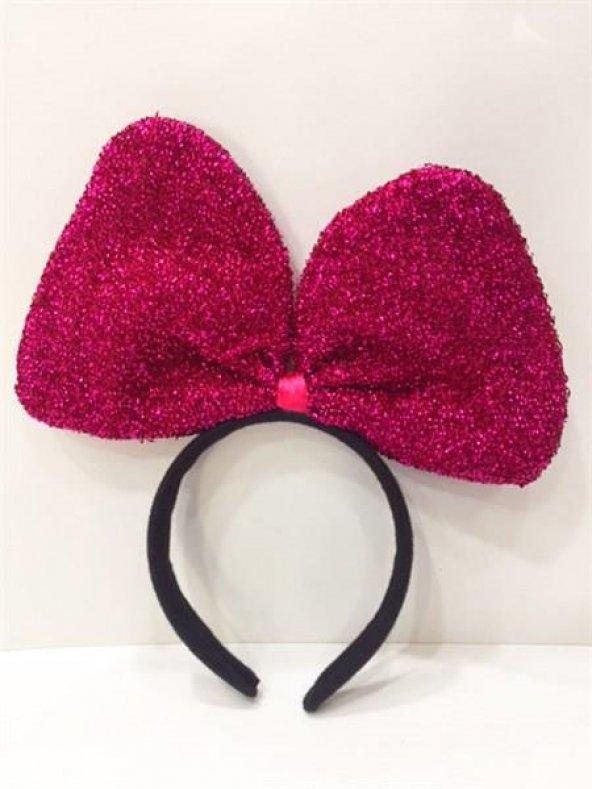 Simli Koyu Pembe Fuşya Fiyonklu Minnie Mouse Taç, Parti Tacı