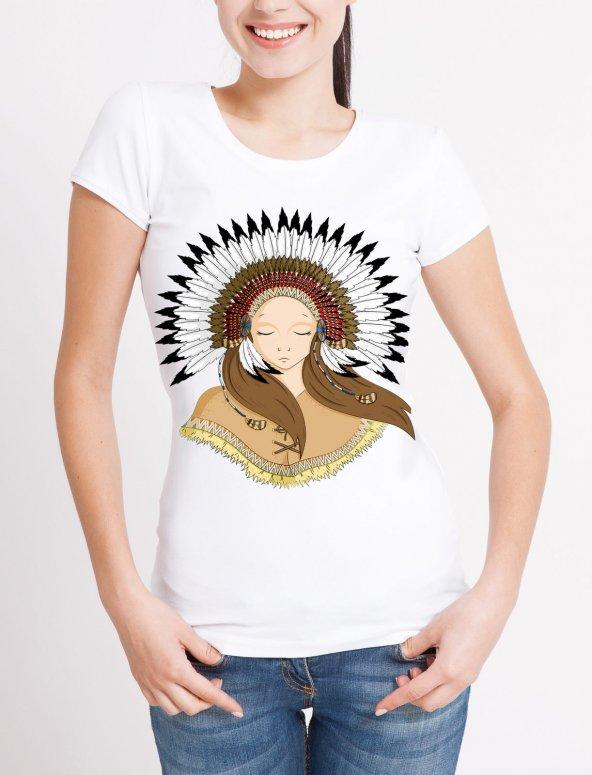 Kızılderi Temalı Bayan Tişört