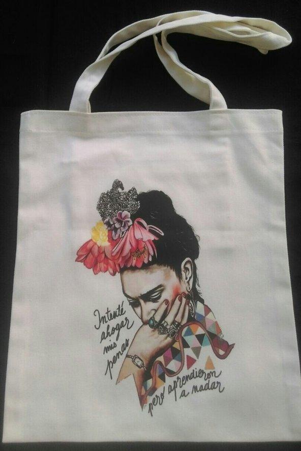 Frida Temalı Bez Çanta Tote Bag - Fermuarlı iç cep