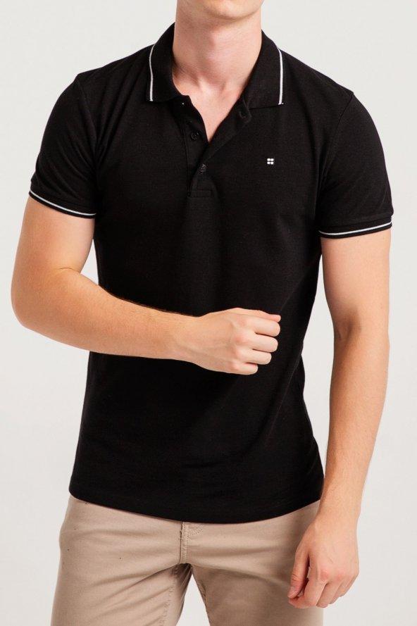 AVVA RED Erkek Polo Yaka T-shirt Siyah