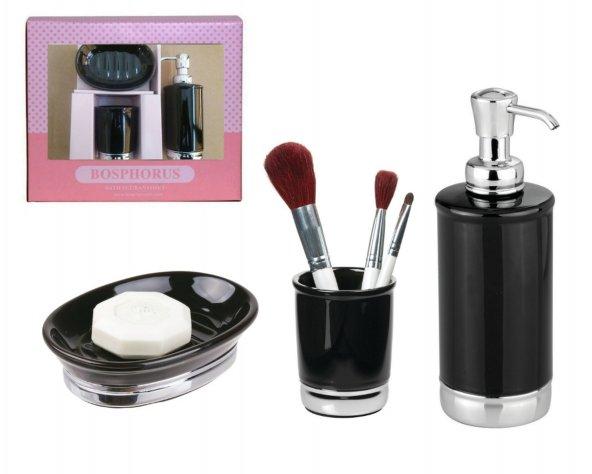 Hediye Kutulu Siyah Porselen Model 3 Lü Banyo Aksesuarı