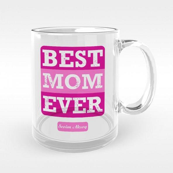 Kişiye Özel En İyi Anne Tasarımlı Cam Kupa Bardak - 3