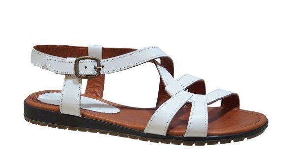 Ustalar Ayakkabı 087.1491 Kadın Deri Günlük Beyaz Sandalet