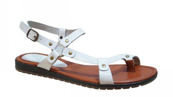 Ustalar Ayakkabı 087.1460 Kadın Deri Parmak Arası Beyaz Sandalet