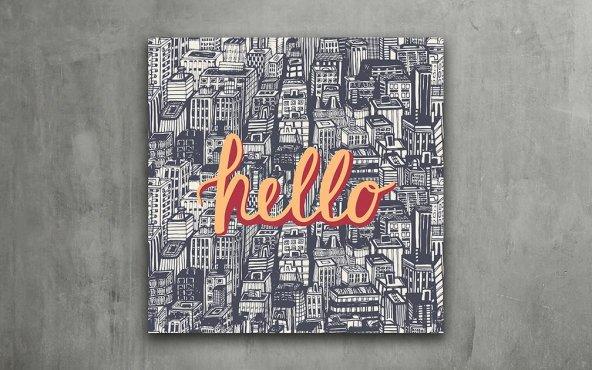 Hello - Tipografi Kanvas Tablo