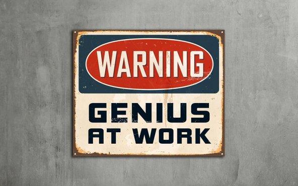 Warning Genius At Work - Tipografi Kanvas Tablo