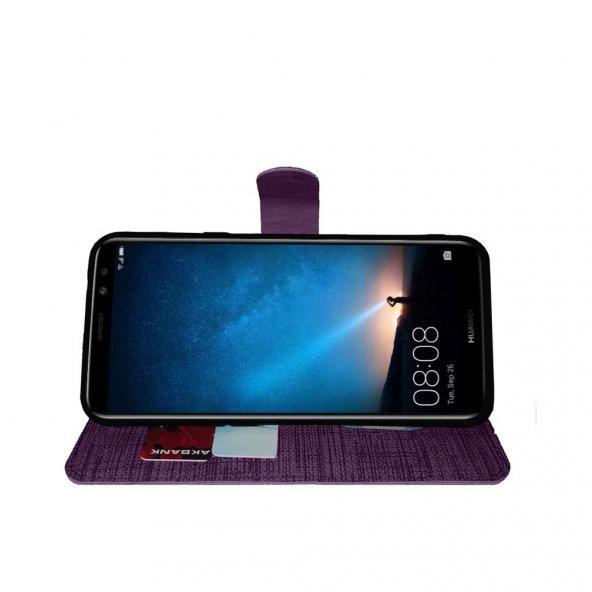 Huawei Mate 10 Lite Yan Kapaklı Cüzdanlı Kartlıklı Kılıf Mor