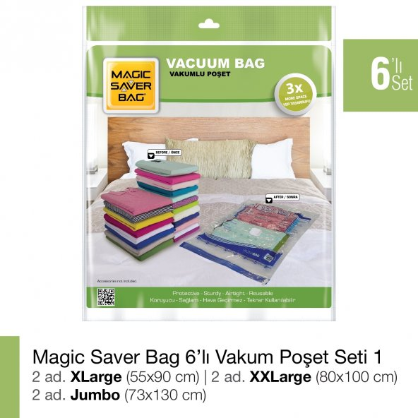 MAGIC SAVER BAG 6lı Saklama Vakumlu Poşet Seti 1