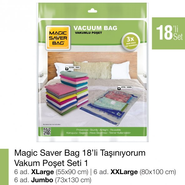 MAGIC SAVER BAG 18´li Taşınıyorum Vakumlu Poşet Seti 1
