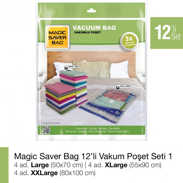 MAGIC SAVER BAG 12li Vakumlu Poşet Seti 1