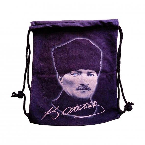 Baskılı Bez Sırt Çantası Atatürk Portresi
