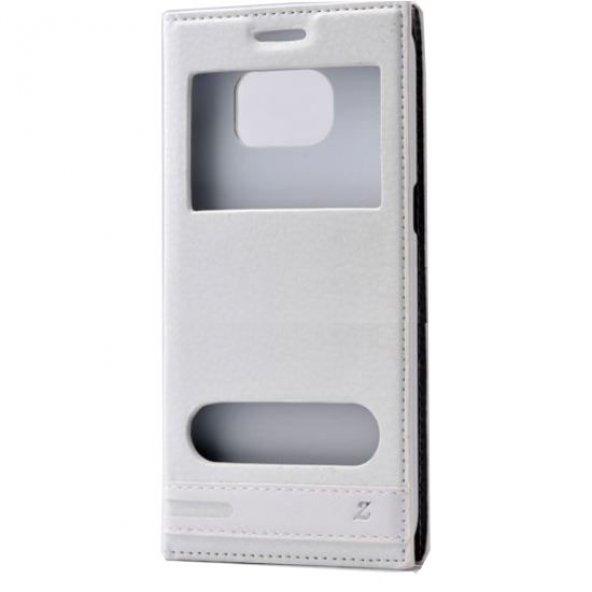 Samsung Galaxy S7 Edge Çift Pencereli Kılıf Beyaz