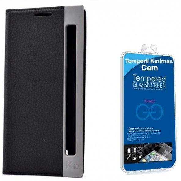 LG K10 Özel Pencereli Kılıf Siyah + Cam Ekran Koruyucu