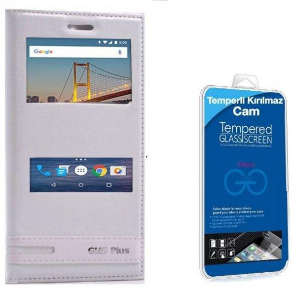 General Mobile GM 5 Plus Çift Pencereli Kılıf Beyaz + Cam Ekran Koruyucu