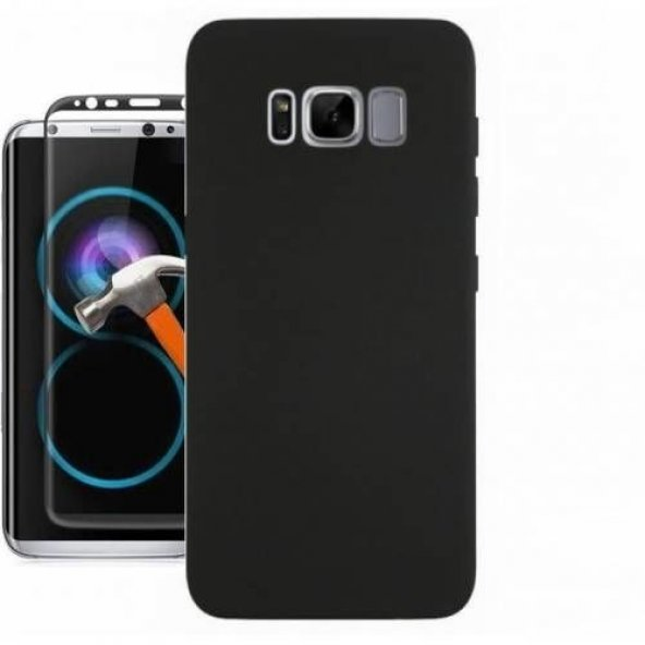 Samsung S8 Plus Lüks Silikon Kılıf + Full Kapatan Cam