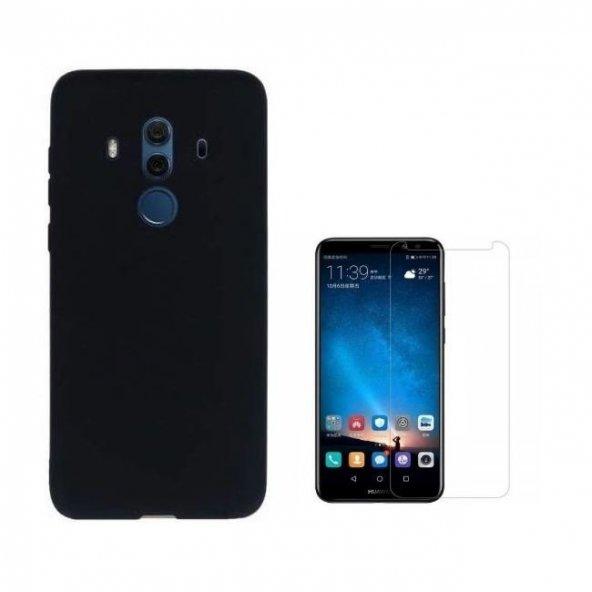 Huawei Mate 10 Pro İmax Kamera Koruma Silikon Kılıf + Cam Ekran Koruyucu
