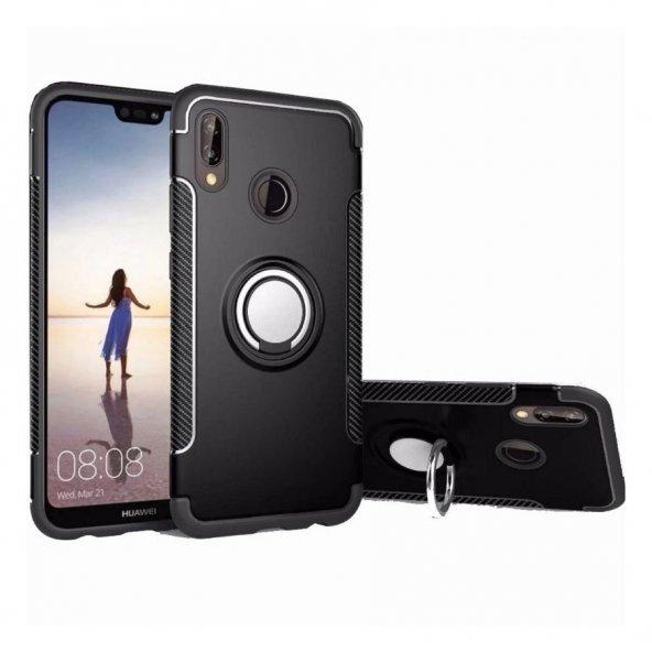 Huawei P20 Lite Yüzüklü Çift Katmanlı Kapak + Nano Ekran Koruyucu