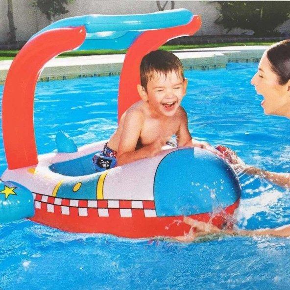 PLAJ TOPU HEDİYE - Bestway Gölgelikli Havuz & Deniz Botu - Baby Float, Bestway 34100