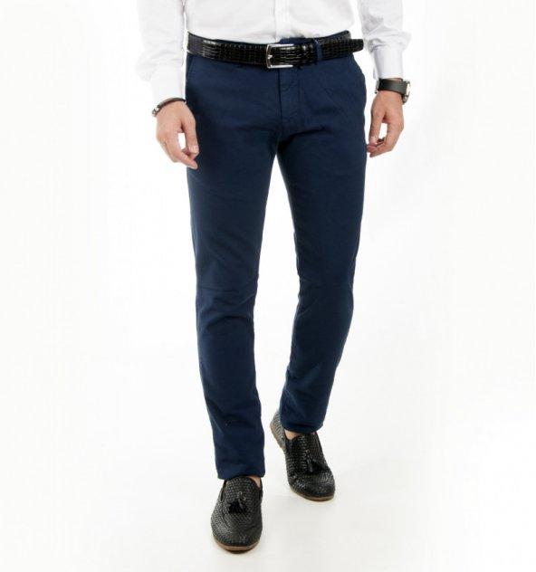 50ab66749e1cd DeepSEA Lacivert Kendinden Desenli Spor Kesim Slimfit Erkek Keten Pantolon  1702560