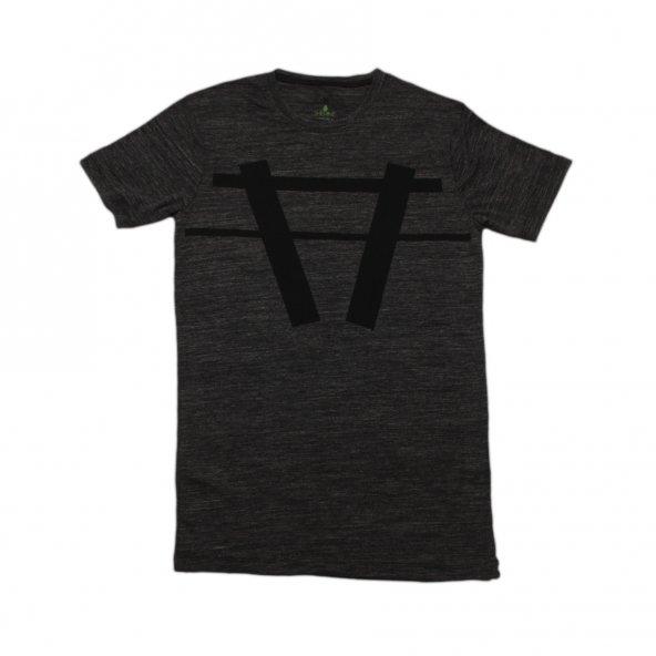 Erkek A Logo Baskılı Siyah Tişört