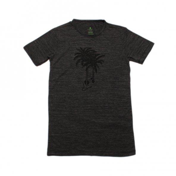 Erkek Palmiye Baskılı Siyah Tişört