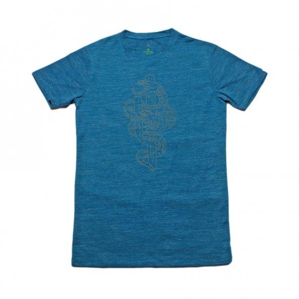 Erkek Yılan Baskılı Mavi Tişört