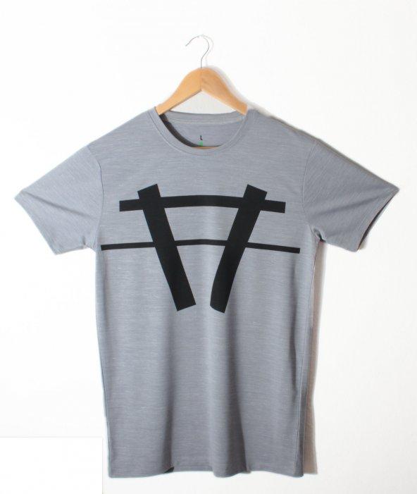 Erkek A Logo Baskılı Gri Tişört