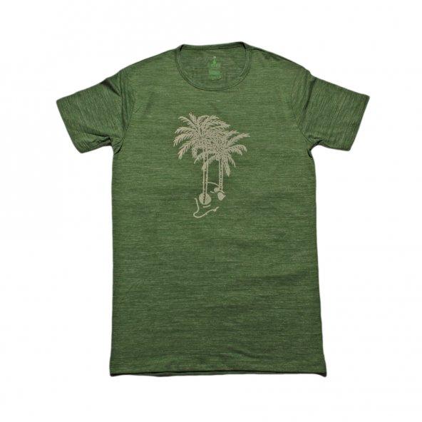 Erkek Palmiye Baskılı Yeşil Tişört